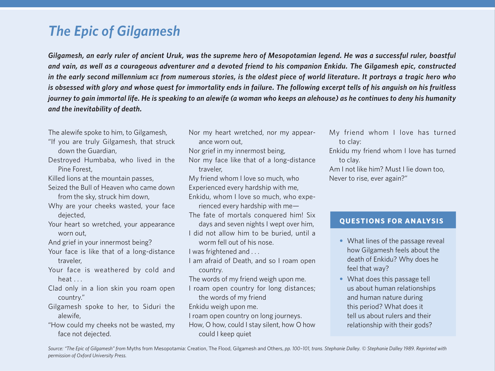 essay about the epic of gilgamesh Free essay: the epic of gilgamesh is an fascinating mesopotamian epic that  dates back to ancient years the story focuses on a king by the name of  gilgamesh.